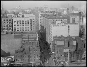Tremont Street in the Theatre District, bird's eye toward State House