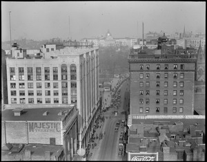 Bird's eye view up Tremont Street from Theatre District showing Little Building and Hotel Touraine