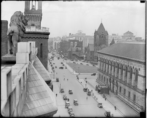 View toward Copley Square from Hotel Kensington lion