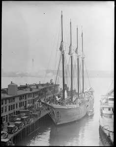 T-wharf, 4-masted ship tied up, Seth Parker