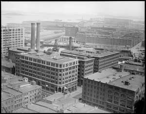 View of Fort Point Channel area from United Shoe Machinery Building toward South Boston Army Base