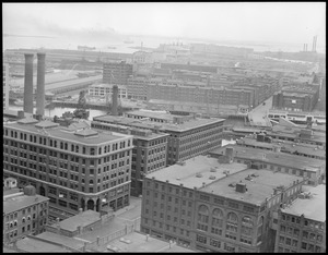 Bird's eye view of Fort Point Channel area from United Shoe Machinery Building