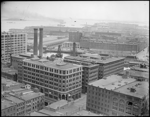 Bird's eye view of Fort Point Channel from United Shoe Machinery toward South Boston Army Base