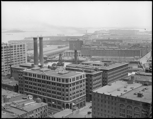 Bird's eye view of Fort Point Channel area from the United Shoe Machinery Building