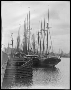 4-masted schooner at Meriden Street drawbridge, East Boston - Mary O'Maynard, et al.