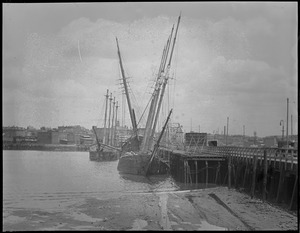Old ships moored at Meridian St. drawbridge, East Boston, looking toward Chelsea