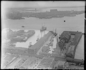 Bird's eye view of T-wharf and East Boston from the top of the new Custom House Tower