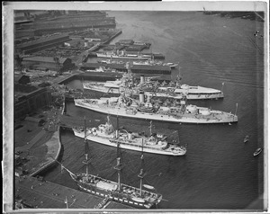 Aerial view of Charlestown Navy Yard and Constitution