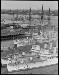 Ships moored at Charlestown Navy Yard