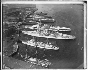 Aerial view of Charlestown Navy Yard and USS Constitution