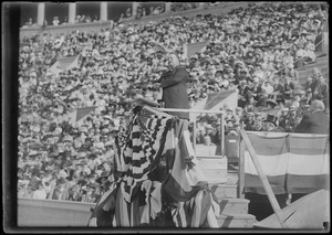 President Taft speaks from podium, possibly Harvard Stadium