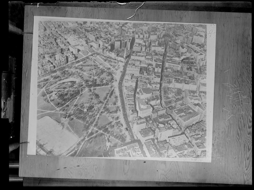 Aerial view of downtown and Boston Common