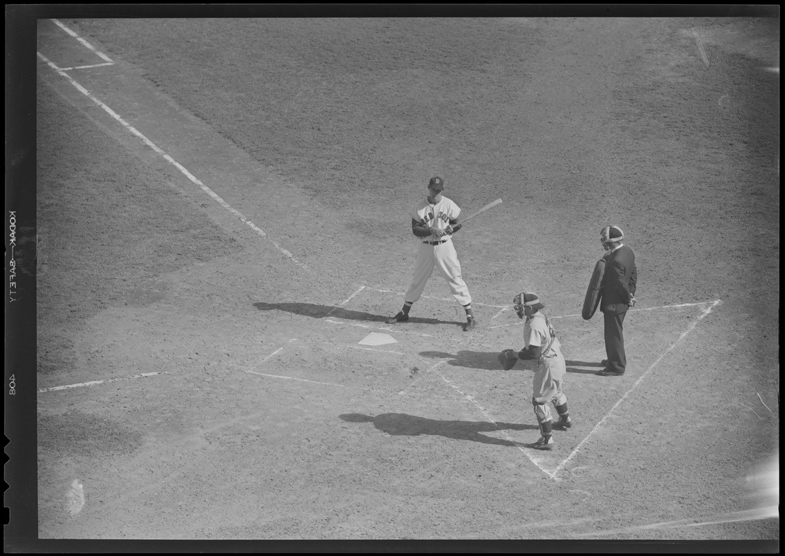 Ted Williams being put on first, Fenway