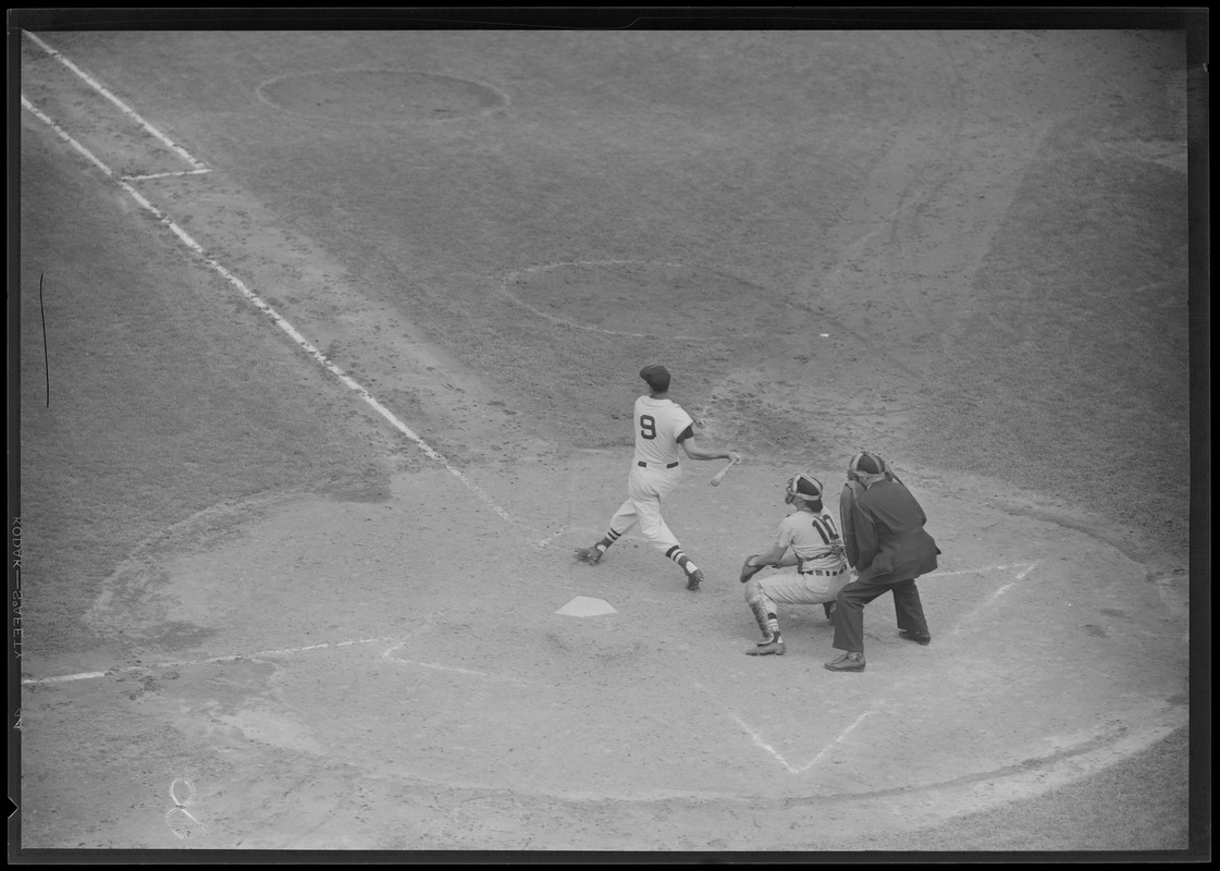 Ted Williams batting at Fenway