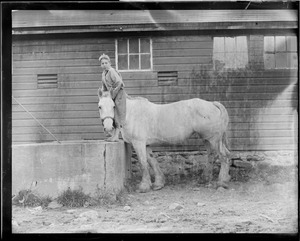 Boy on horse at stable
