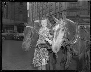 Girl with cart horses, Boston