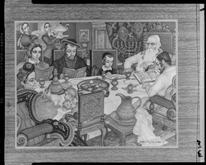 Photo of a print by Arthur Szyk - 1948 - New Canaan