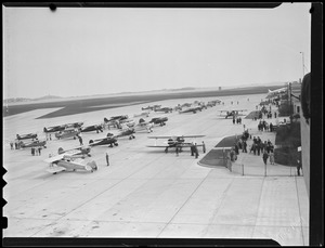 Planes on runway, E. Boston airport