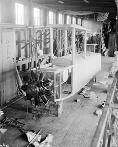 Biplane under construction, Pigeon Hollow Spar Company, East Boston