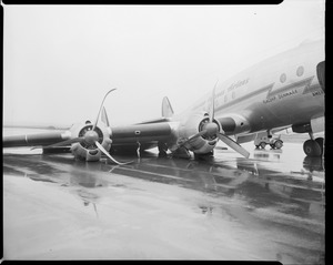 The Denmark, flagship of American Overseas Airlines, crash lands at E. Boston airport (detail of right wing)