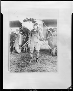 Capt. Charles Lindbergh shown standing in front of his Ryan monoplane Spirit of St. Louis Curtis Field, Long Island