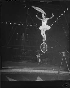 Circus aerialist on the high wire