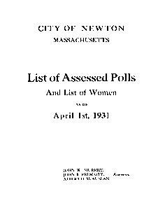 Assessed polls...City of Newton - Annual list of residents - List of assessed polls and list of women -