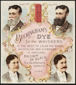 Buckingham's Dye for the Whiskers is the best to color the beard, mustache and eyebrows a natural brown or black. The gentleman's verdict.