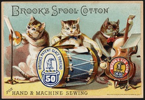 Brook's spool cotton for hand & machine sewing, Brook's Patent Glace Thread 50, Brook's Six Cord 40