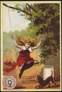 Merrick Thread Co., on Merrick thread she swings and in the foliage gaily sings.