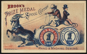Brook's prize medal spool cotton. Hand and machine sewing. Brook's Six Cord 60, Brook's Patent Glace Thread, 70.