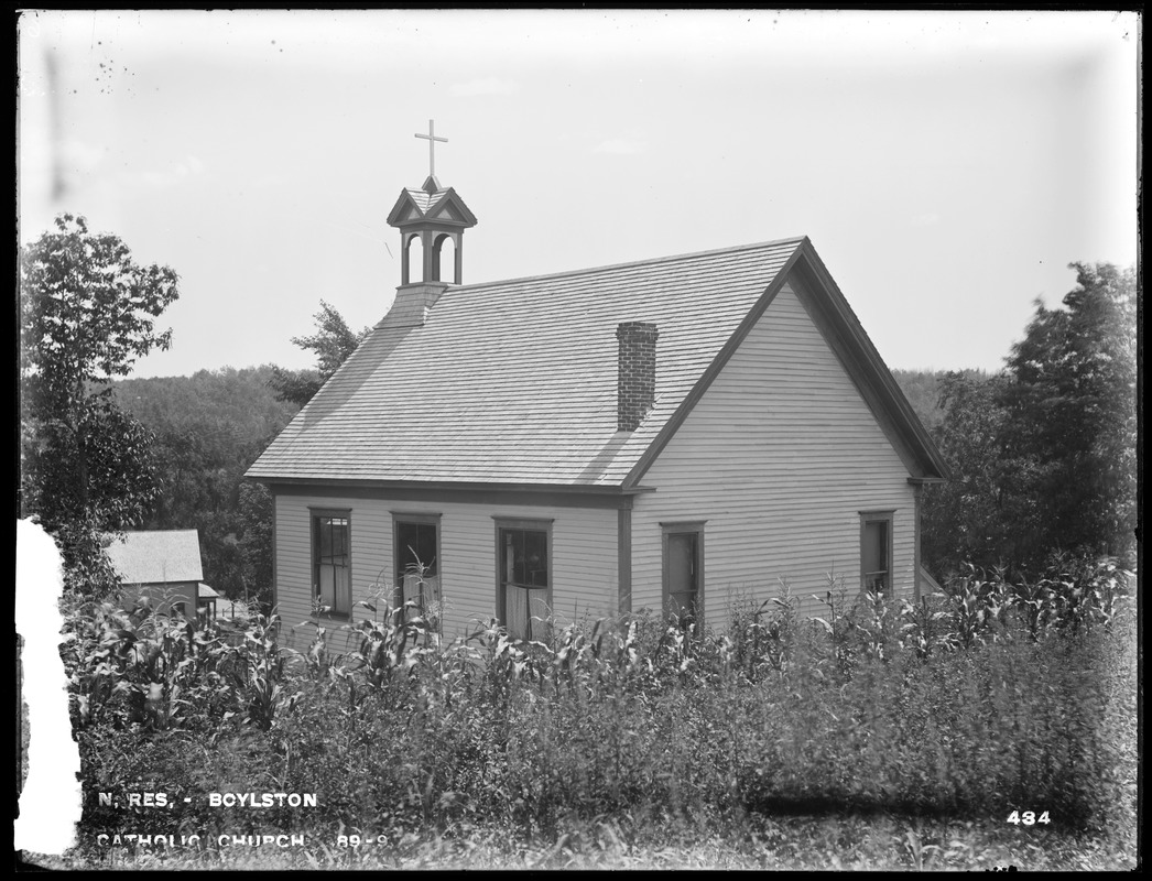 Wachusett Reservoir, Roman Catholic Church (P. T. O'Reilly), from the west, Boylston, Mass., Jul. 31, 1896