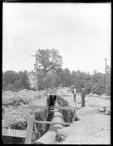 Distribution Department, Low Service Pipe Lines, Section 7, trench work, Ravine Road, station 573, from the west, Stoneham, Mass., Sep. 15, 1896