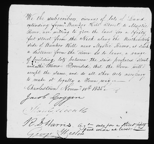 Document no. 3 regarding surrender of lands for new street along N.E. side of Bunker Hill, November 10, 1835