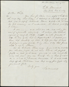 Letter from Seth Williston Benedict, New York, to Amos Augustus Phelps, June 10. 1839
