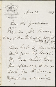 Letter from Rebecca Moore, [London, England], to William Lloyd Garrison, June 23 1877