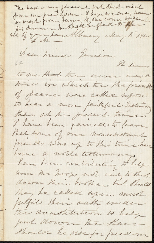 Letter from Lydia Mott, Albany, [N.Y.], to William Lloyd Garrison, May 8 1861