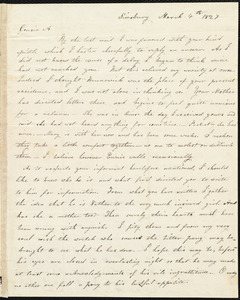 Letter from Parentha Bodwell, Simsbury, to Amos Augustus Phelps, March 4th 1827