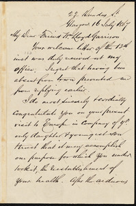 Letter from Andrew Paton, Glasgow, [Scotland], to William Lloyd Garrison, 16 July 1867
