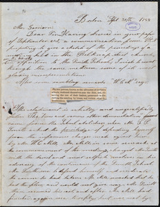 Letter from A. A. Pembroke, Boston, [Mass.], to William Lloyd Garrison, Sept[ember] 30th 1842