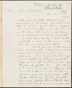 Letter from Milton Metcalf Fisher, Westboro, to Amos Augustus Phelps, Sept 21 1837