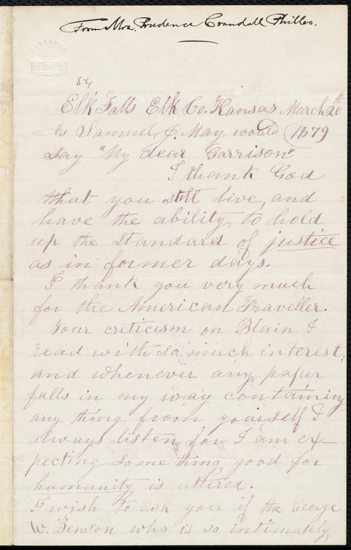 Letter from Prudence Crandall, Elk Falls, [Kan.], to William Lloyd Garrison, March 20th 1879