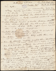 Letter from P. B. Fisk, Heath, to Amos Augustus Phelps, Jan 13. 1838