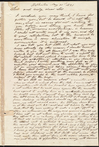 Letter from Elijah Fitch, Hopkinton, to Amos Augustus Phelps, May 31st 1831