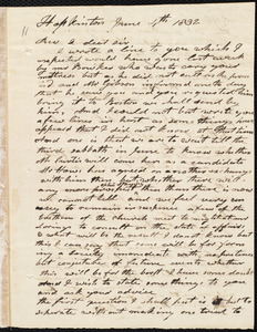 Letter from Elijah Fitch, Hopkinton, to Amos Augustus Phelps, June 4th 1832
