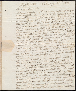 Letter from Elijah Fitch, Hopkinton, to Amos Augustus Phelps, February 22d 1833