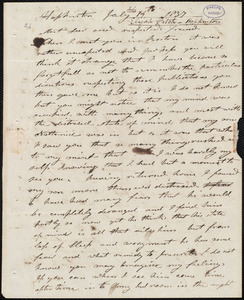 Letter from Elijah Fitch, Hopkinton, to Amos Augustus Phelps, July 17th 1837