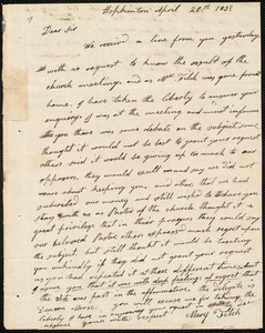 Letter from Mary Fitch, Hopkinton, to Amos Augustus Phelps, April 26th 1832