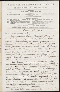 Letter from Thomas Phillips, [London, England], to William Lloyd Garrison, July 15th 1867