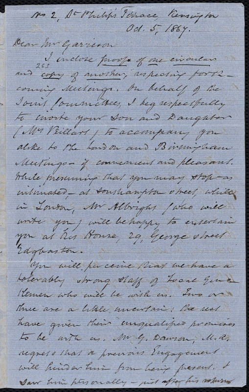 Letter from Thomas Phillips, [London, England], to William Lloyd Garrison, Oct[ober] 5, 1867